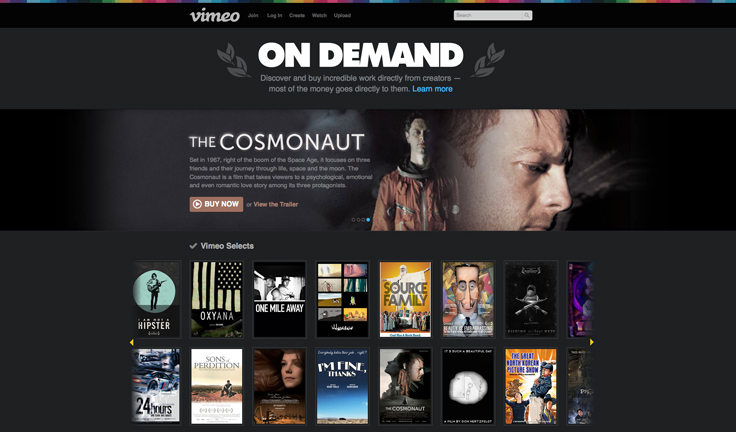vimeo on demand page screen shot