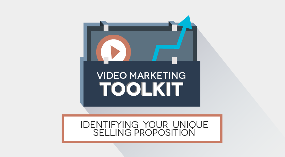 Video Marketing Toolkit - Identifying Your Unique Selling Proposition. toolkit vector with chart lines, video play button.