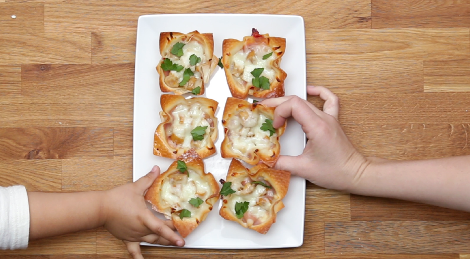 Branded Content example. Hands reaching in for food, via Tasty by Buzzfeed