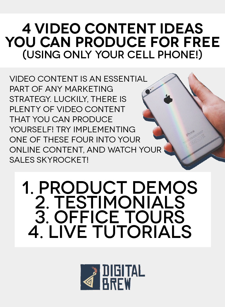 Video content is essential to your startup marketing strategy. Fortunately, there are plenty of videos you can produce at home (for free!) Check these out, and head to the Digital Brew blog to find out more.