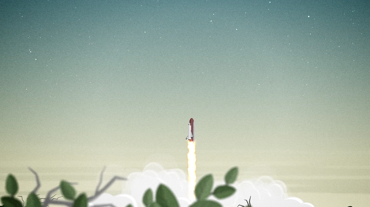 cartoon rocket ship taking off