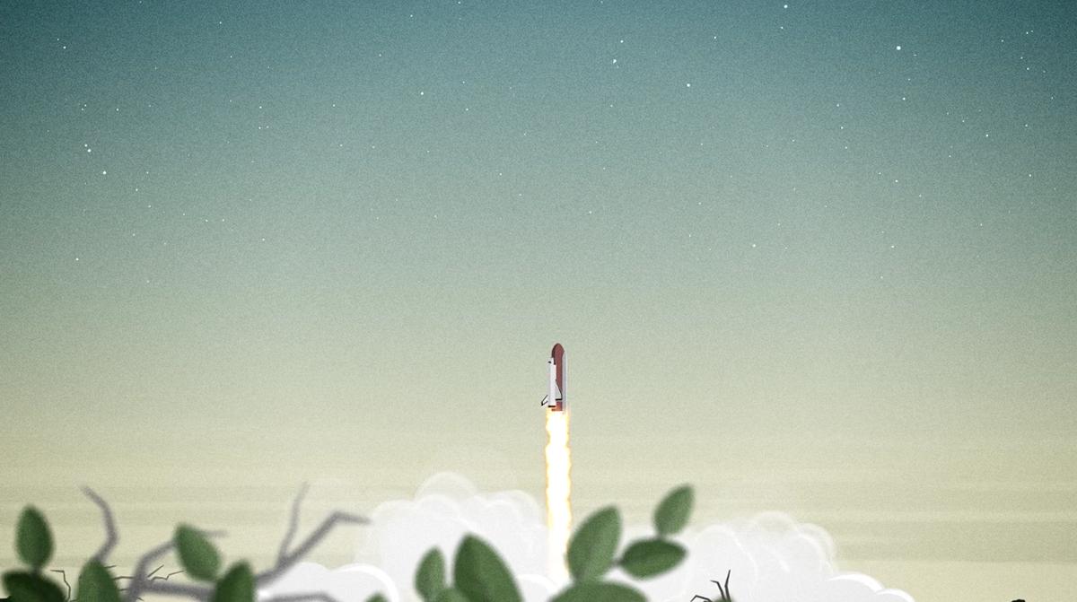 cartoon rocket ship taking off