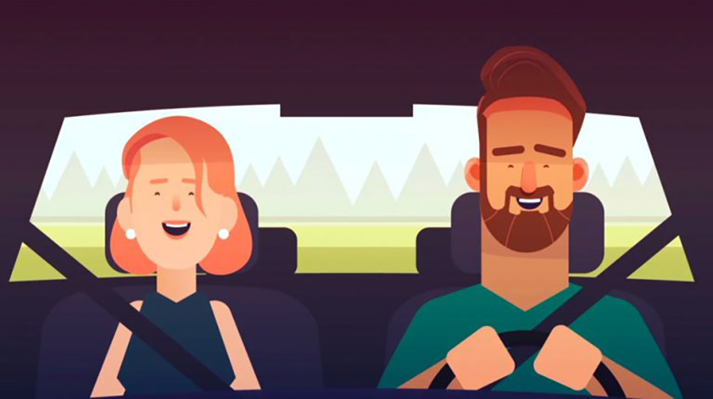 Cartoon man and woman driving in car